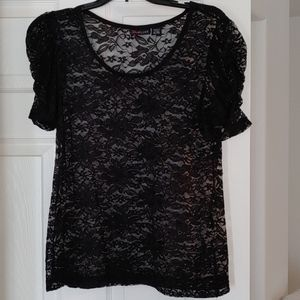 UltraFlirt- Black Lace Blouse with Ruched Sleeves